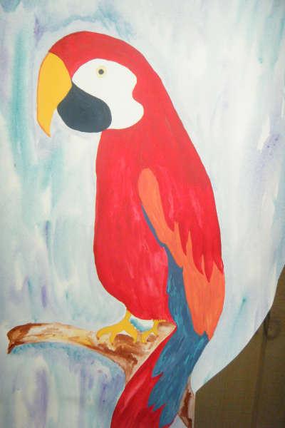Hand Painted Parrot by Artist Lynda Bertrand