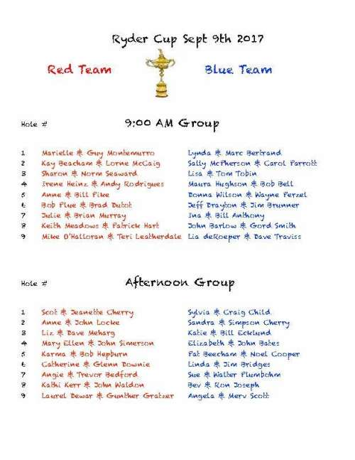 Ryder Cup Tee Times