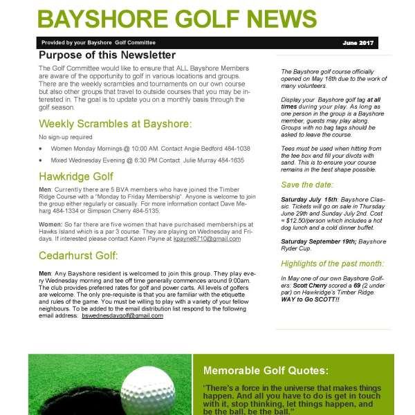 Golf News June 2017 (2 page PDF)