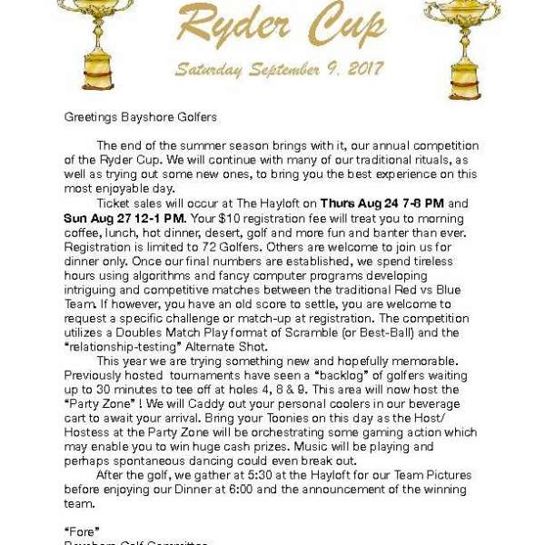 Golf Ryder Cup Sept 9th Tickets Sold Out - Waiting list established.