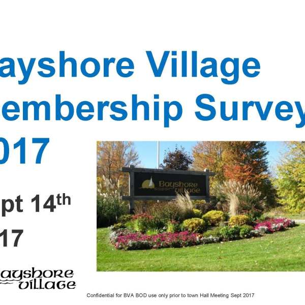 BVA Membership Survey was posted Sept.14th on the password protected Members Only section of the website. Please print your copy & bring to AGM