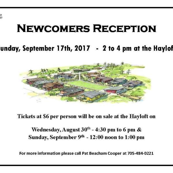 Newcomers Reception Sept. 17th - Tickets Aug 30 & Sept 9