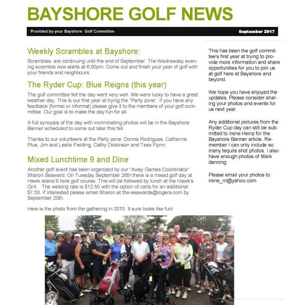 Bayshore Golf News September 2017