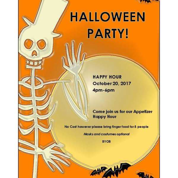 Happy Hour 20 October 2017, 4 - 6 pm - HALLOWEEN PARTY
