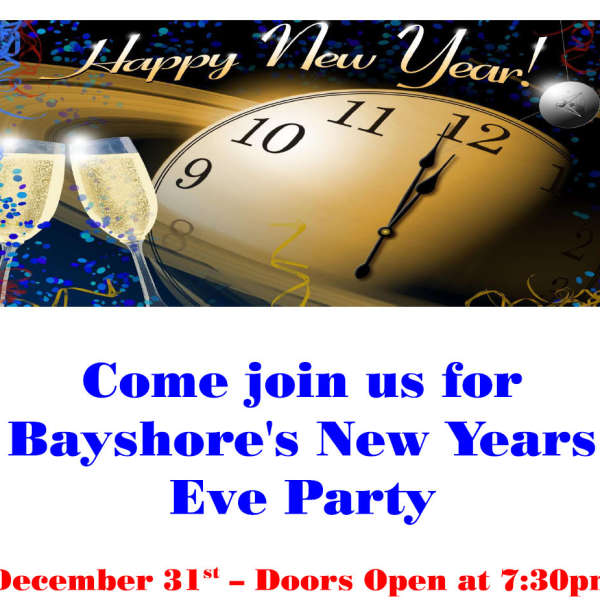 Tickets for New Years Eve Party available from Dawn Kelly at 705-955-0082
