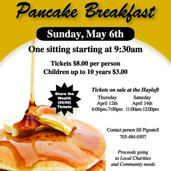 Pancake Breakfast May 6th - Tickets at Happy Hour 20 Apr