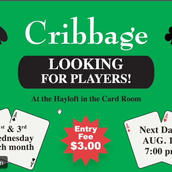 Cribbage Looking for Players - 1st & 3rd Wednesday of Month