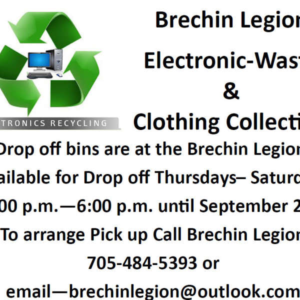 e Waste and Used Clothing till Sat 2-6 pm until Sept 2nd