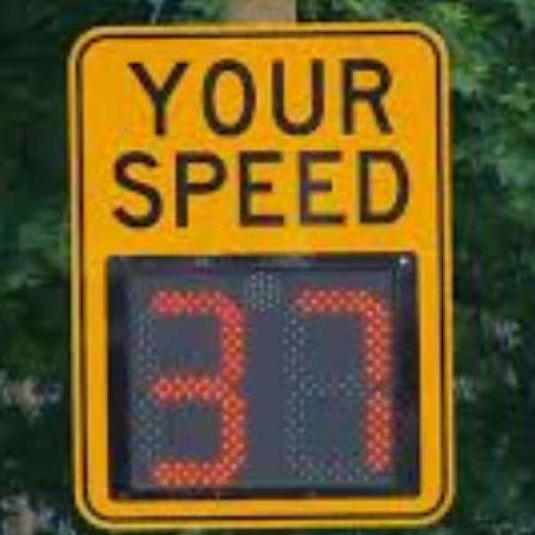 Speed Radar Sign Vandalized - this is a criminal Offense